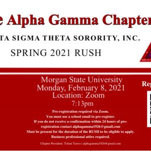 Alpha Gamma Chapter of Delta Sigma Theta Sorority, Inc. — Spring 2021 RUSH
