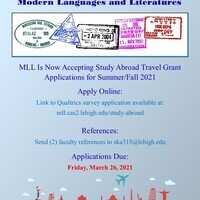 Modern Languages and Literatures 2021 Study Abroad Summer/Fall Travel Grant