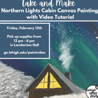 Northern Lights Cabin Canvas Painting | Lehigh After Dark