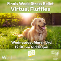 Finals Week Stress Relief Virtual Therapy Fluffies with the UCR Library, The Well, and UCR Active Minds