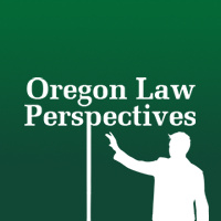 Outline of a person gesturing under the words Oregon Law Perspectives