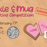 Flyer describing Cookie and Mug Decorating Competition. It will be held on Wednesday, February 17th. At the Joe Crowley Student Union, in ballroom C, from 6pm - 8 pm.