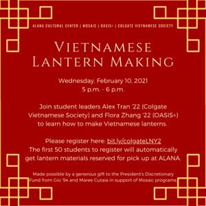 ALANA and Mosaic Present: Vietnamese Lantern Making