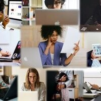 Collage of diverse employees at computers