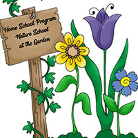 """Photo of flowers and sign with the words"""" Home School Program Nature School at the Garden."""""""