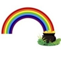Photo of a rainbow ending in a pot of gold.