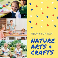 """There are three photos of children crafting on the left and the right has the phrase """"Friday Fun Day: Nature Arts and Crafts"""" on a yellow background."""