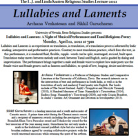 Event flyer: Lullabies and Laments, featuring Archana Venkatesan and Sikkil Gurucharan