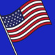 Clip art image of an American Flag on a blue background.