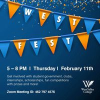 West Fest text on with blue and orange banners on top of blue background