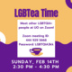 "Purple and orange graphic, the text says ""LGBTea Time: Meet other LGBTQIA+ people at UO on Zoom! Zoom meeting ID: 444 929 5668 Password: LGBTQIA3kk   Sunday, FEB 14th, 2:30 PM - 4:30 PM"