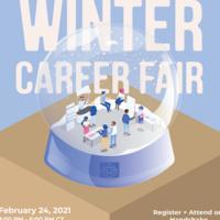 Winter Career Fair logo - people at a career fair inside a snow globe with a light blue background