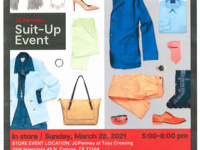 JC Penney Suit Up Event. Clothes, bags, and shoes are arranged to fill the entire poster.