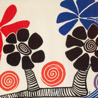 Image Credit:Alexander Calder.Les Palmiers (America is Blooming).1975. Tapestry. Gift of Philip and Muriel Berman.  Note: This is one of 6 tapestries designed for the Bicentennial. Each is a series of geometric or biomorphic shapes in bold, primary colors. Only 19 of the originally planned 200 sets were produced.