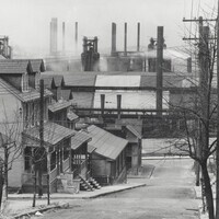 Walker Evans. Bethlehem Houses and Steel Mill, Pennsylvania. 1935. Gelatin silver print from nitrate negative. LUF 82 1040. Ralph L.Wilson Endowment Purchase