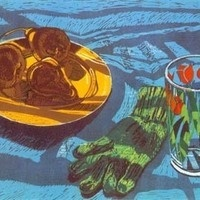 Janet Fish. Pears and Glove. 1985. Woodcut on paper, 40/45. Gift of Charles and Barbara Vengrove.