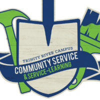 Trinity River Campus Community Service and Service-Learning. Text is inside a blue and beige shovel, with a green hammer and green and blue paint brush next to it.