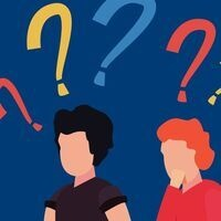 Clip art of two people with question marks above their heads.