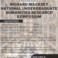 Applications Open-Johns Hopkins 2nd Annual Richard Macksey National Undergraduate Humanities Research Symposium