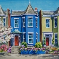 """Blue House In Spring"" by Beverley Jane"