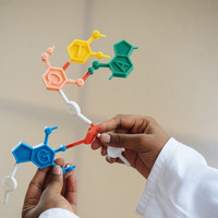 person's hands hold molecule model