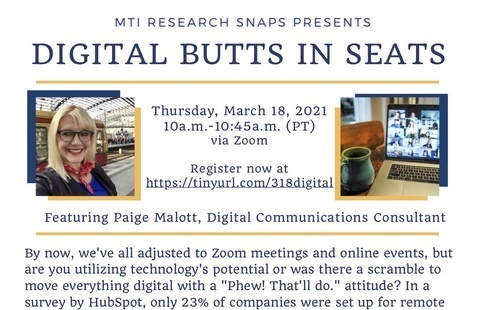 "MTI Research Snaps Webinar: ""Digital Butts in Seats: Creating Interesting, Engaging Virtual Events"""
