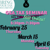 UCSC Graduate Student Association 2021 Tax Seminar. Still Online. Bring your tax documents. 5:30pm-7:30pm. February 25 (Thursday), March 15 (Monday), April 6 (Tuesday)