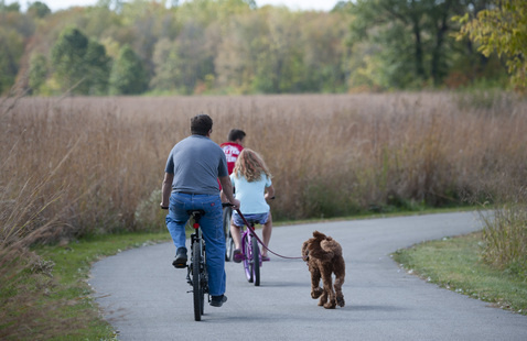 Guests ride bikes on paved trail at Prophetstown State Park, photo by The Reeds