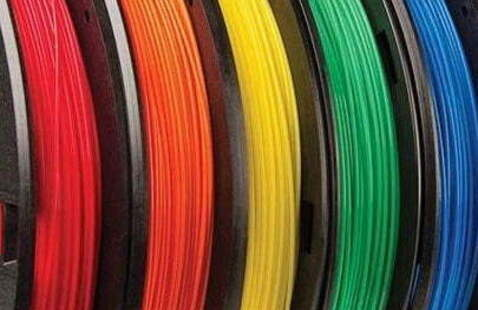 Red, orange, yellow, green, and blue printing filament