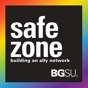 "black box with words ""Safe Zone building an ally network BGSU"" surrounded by rainbow border"