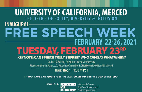 The Office of Equity, Diversity & Inclusion Present: Inaugural Free Speech Week-February 21-26, 2021: Tuesday Event: Keynote: Dr. Lori S. White, President, DePauw University