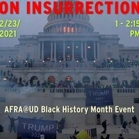 Flyer with image of protest at U.S. Capitol