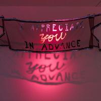 Photo credit: Cauleen Smith I Appreciate You in Advance (2018)  Banner, fiberglass screen, woven metallic polyesters, woven two-tone silk