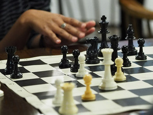 Chess board during a match.