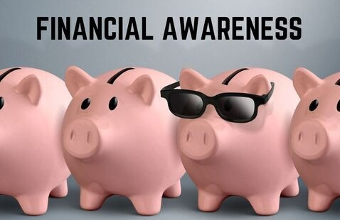 Financial Awareness text with photo of piggy banks