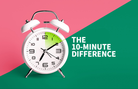 the 10-Minute Difference graphic with a clock