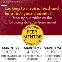 Apply to be a First-Year Experience (FYE) Peer Mentor
