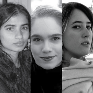 Black and white image of the poets (from left to right) Fariha Róisín, Leila Chatti and Natalie Scenters-Zapico