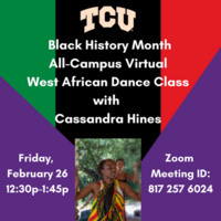 Photo of Masterclass instructor Cassandra Hines.  Cassandra is dancing outdoors in traditional West African costume