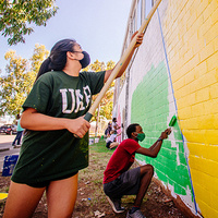 UAB students painting during Into the Streets 2020