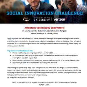 Verizon and CGI U 2021 Social Innovation Challenge MSU Virtual Event