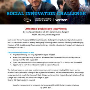 Verizon and CGI U 2021 Social Innovation Challenge MSU Virtual Event