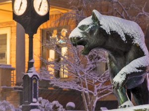 Winter shot of panther statue and WPU