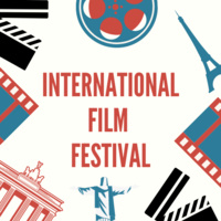 International Film Festival.  There are clip art images of the Eifel tower, a film reel, film.