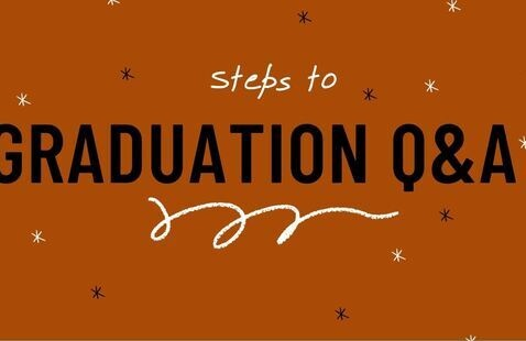 Steps to Graduation with a burnt orange background sprinkled with stars