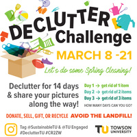 Declutter Challenge Event Flyer: an illustration of a box with various items like a chair, shoes, football, beach ball, clothing, etc. coming out of it. Text reads