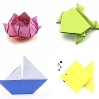 collage of origami examples: a lotus flower, a jumping frog, a sailboat & a fish
