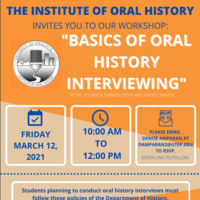 """The Institute of Oral History Invites You To Our Workshop """"Basics of Oral History Interviewing"""""""