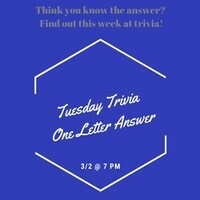 Tuesday Trivia: One Letter Answers