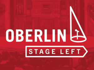 Oberlin Stage Left logo in red box with Finney Chapel in the background